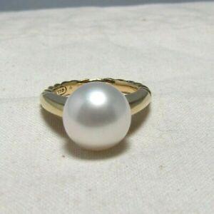 David Yurman 18K Yellow Gold 13MM South Sea Pearl Ring Size 7.25