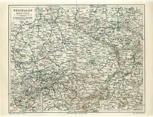 1897 GERMANY WESTPHALIA STATE MUNSTER Antique Map dated