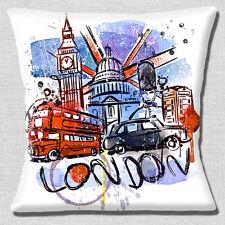 """Londres Big Ben St Paul's Bus Taxi teléfono Caja Blanco De 16 """"Almohada cojín"""