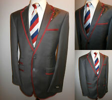 New Grey Boating Blazer Suit Jacket 38 L Red Trim Regatta College Sport Coat