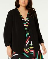 Bar Iii Womens Trendy Plus Size Open-Front Jacket Black Size: 2X