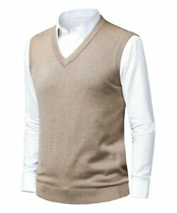 Mens Slim Fit Sweater Vest Golf Knitted Tank Top Sleeveless Pullover