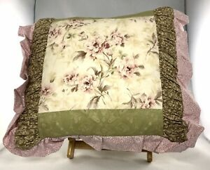 Floral Pillow Green, Floral Pillow Pink, Cottage Pillow, Shabby Chic