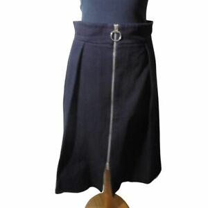Whistles Zip Through Midi Skirt Black Size 10