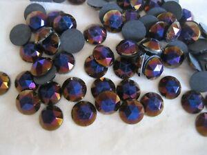 full package, 72 preciosa round faceted flatbacks,9mm purple iridescent