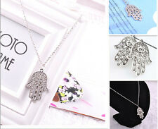 Fashion Indie Alloy Chain Bling Eye Hand Palm Pendant Necklace Hamsa Lucky Gift