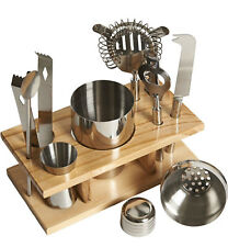 10 Piece Cocktail Maker Stainless Steel Bar Set with Wooden Display Stand+Recipe