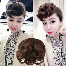Thick Retro Bangs Curly Finger Wave Clip on Front Fringe Hair Pieces Synthetic