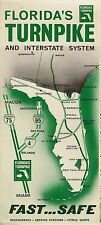 Official 1968 FLORIDA'S TURNPIKE Road Map Miami to Wildwood I-75 Governor Kirk