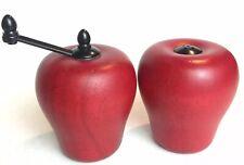 Vintage Retro Wood Red Apple Salt Shaker & Pepper Grinder