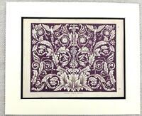 1859 Antique Print Architectural Ornamental Frieze Intricate Carving Purple