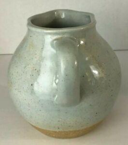 """Pottery Barn Stoneware Pitcher Vessel Decorative Only Gray Glaze 5 1/2"""""""