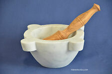 Mortaio marmo bianco Carrara,pestello ulivo.Marble mortar olivewood pestle 22cm