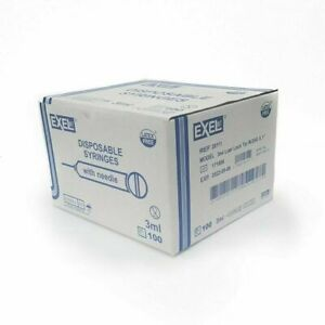 Exel Luer-Lock 3ml (3cc) 25g x 1 in 26111 (Pack of 100)