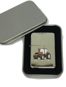 Red Tractor Lighter Case International Enamel Badge NO FUEL INC Gift Box Farming