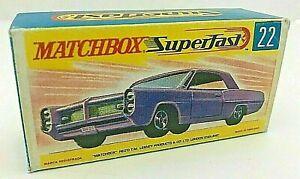 Matchbox Sperfast No 22 PONTIAC COUPE PURPLE Repro Empty style G Box