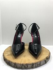 Bakers Women's Black Patent Leather Ankle Straps Heels size 8.5