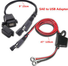 Waterproof 12V SAE to USB Motorcycle Charger Adapter with Zip Tie for Phone GPS