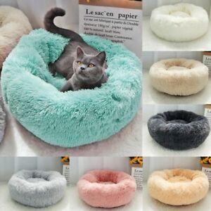 Pet Dog Cat Calming Bed Comfy Shag Warm Fluffy Cushion Mattress Fur Round Nest