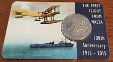 "Malta 2015: 2 Euro ""100 years first flight to Malta"" coincard with mint mark"