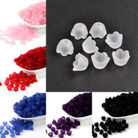 100xTransparnet Acrylic Flower Beads Spacer Smooth Frosted Loose Bead Craft 10mm
