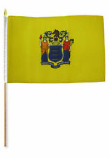 """12x18 12""""x18"""" Wholesale Lot of 6 State of New Jersey Stick Flag wood Staff"""