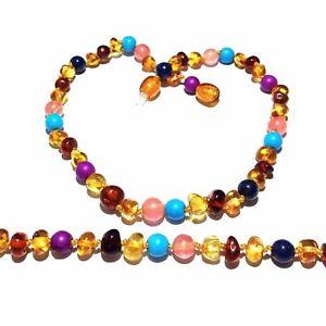 Girls Kids Child Blossom Honey Baltic Amber Howlite Lapis Lazuli Quartz Necklace