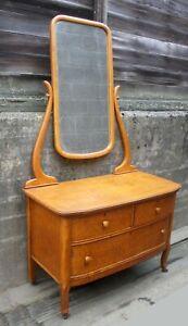 Antique Vintage Old SOLID Maple Wood Wooden Dresser Chest Vanity Beveled Mirror