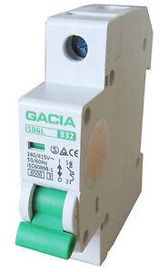 Leitungsschutzschalter GACIA SB6L 1P B32A, Sicherungsautomat MCB