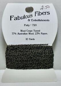 Fabulous Fibers & Embellishments Thread Wool Crepe Tweed wool/rayon putty