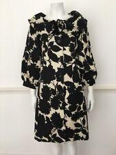 MOSCHINO Cheap & Chic Black & Cream Leaf Print Full Collar Coat UK 12 IT 44