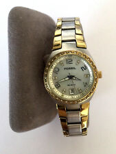 FOSSIL SERENA AM 4183 111101 WOMENS WATCH 10ATM TWO TONE MOP DIAL PARTS REPAIR