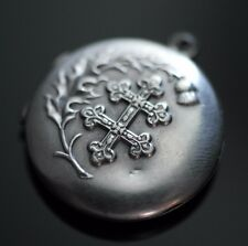 Antique Argent Massif Russe Empire Byzantin Pendentif Croix Orthodoxe Charme Cadeau
