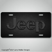 JEEP Black Acrylic on Carbon Fiber Look Aluminum License Plate Tag New