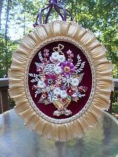 Vintage Rhinestone Jewelry Christmas Tree Framed Art Flower Arrangement 17X14