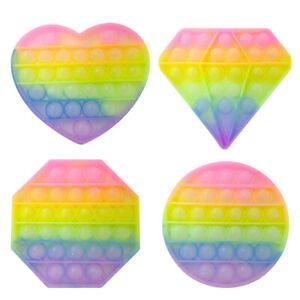 Glitter Rainbow Popit Bubble Sensory Fidget Toy Anti-Anxiety Stress Reliever