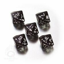 Q-Workshop Japanese 5 Die Set D10 5 Dice Black/White QWS SJAP05