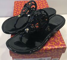 Tory Burch Miller Black Patent  Leather Thong Sandals Sz 7 M Includes Box