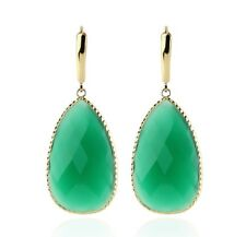 14K Yellow Gold Gemstone Earrings With Green Onyx