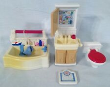 Vintage Fisher Price Dollhouse Bathroom Set 4 Pieces Toilet Tub Vanity Scale