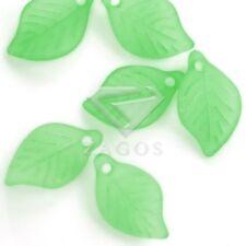 Hot 69pcs Acrylic Green Leaf Jelly-like Jewelry Bracelet DIY Beads 18x11x3mm