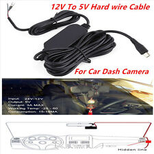 5Pcs 12V To 5V Hard Wire Cables 3.5M Mini Micro USB For Car Dash Camera DVR GPS