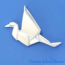 """JAPANESE ORIGAMI """"PAPER"""" CRANE 3D .925 Sterling Silver Charm Pendant MADE IN USA"""