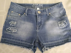 Cute Girls Size 16 Justice Blue Denim Embellished Stretch Cut Off Style Short