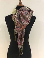 Pashmina Winter Dark Fuchsia Floral Design Shawl Scarf Wrap Large Size