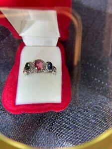 Estate Ring Oval Ruby, Emerald Sapphire w/CZ's Accents in Silver Setting