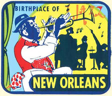 New Orleans, LA- Birthplace of Jazz   Vintage-1950's Style  Travel Decal/Sticker