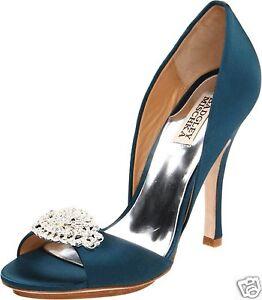 NIB  Badgley Mischka Gia open toe High Heel d'orsey pump shoes w/crystal  TEAL 6