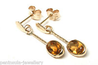 9ct Gold Citrine Oval Drop Earrings Made in UK Gift Boxed Christmas Gift