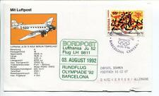 FFC 1992 Lufthansa Volo Speciale Junkers JU 52 D-AQUI Olympiade '92 Barcelona